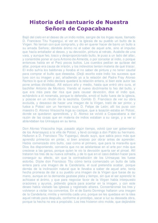 Historia del santuario de nuestra señora de copacabana