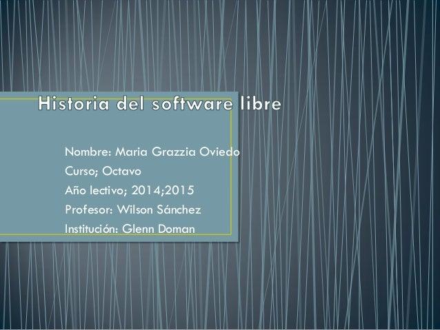 Nombre: Maria Grazzia Oviedo Curso; Octavo Año lectivo; 2014;2015 Profesor: Wilson Sánchez Institución: Glenn Doman