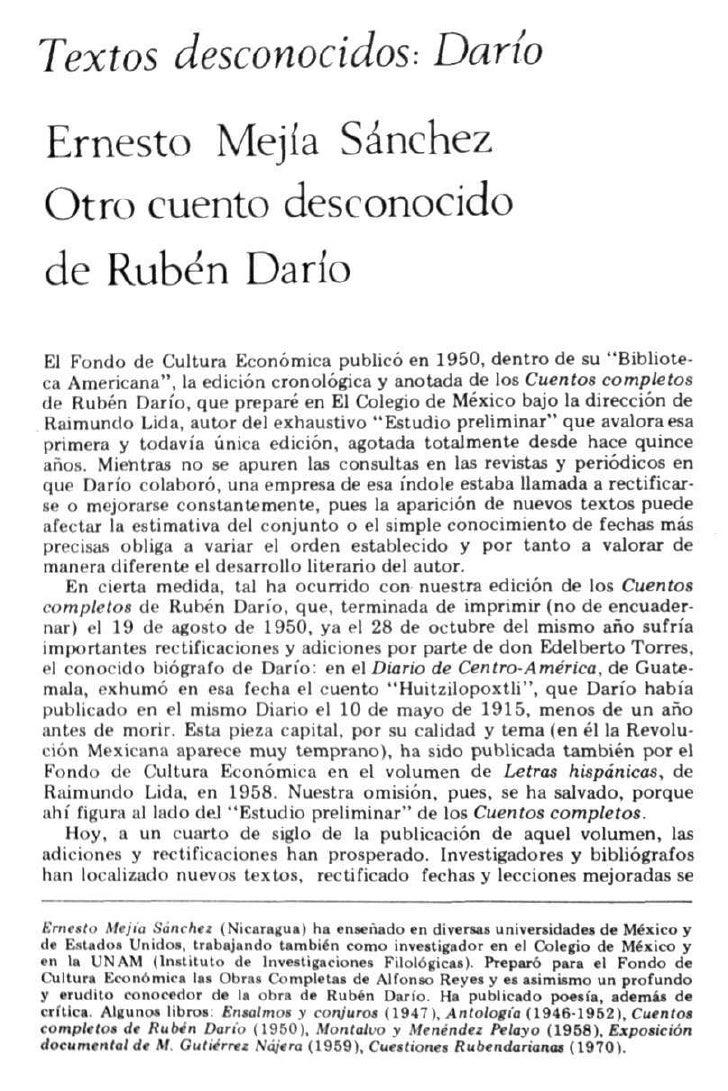 Textos desconocidos: DaríoErnesto Mejía SánchezOtro cuento desconocidode Rubén DaríoEl Fondo de Cultura Económica publicó ...