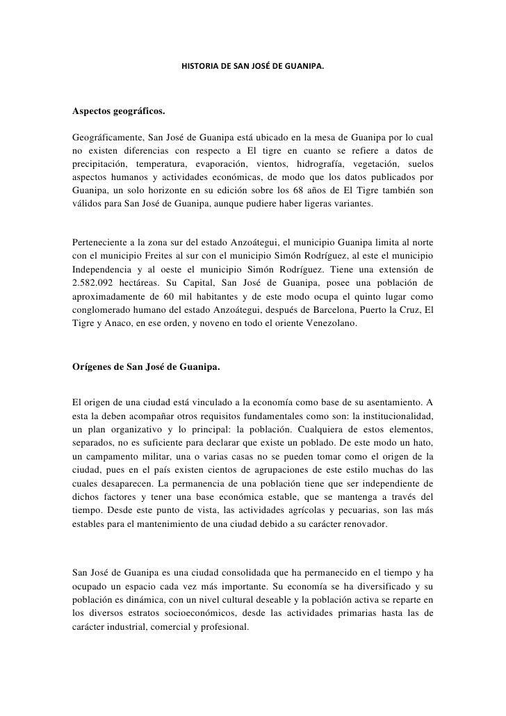 HISTORIA DE SAN JOSÉ DE GUANIPA.Aspectos geográficos.Geográficamente, San José de Guanipa está ubicado en la mesa de Guani...