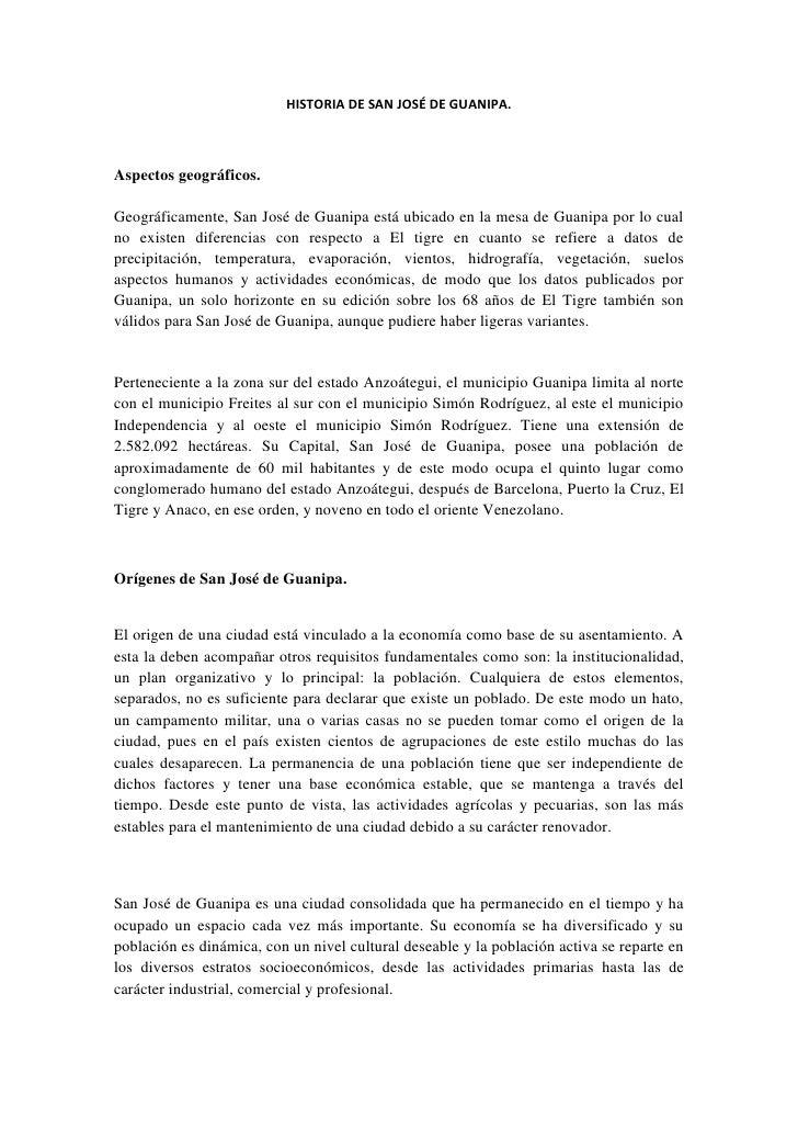 Historia de san josé de guanipa