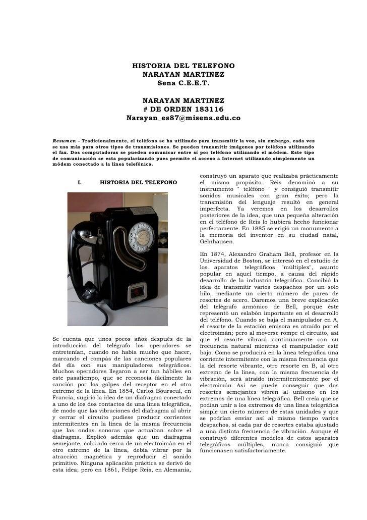 HISTORIA DEL TELEFONO                                NARAYAN MARTINEZ                                   Sena C.E.E.T.     ...