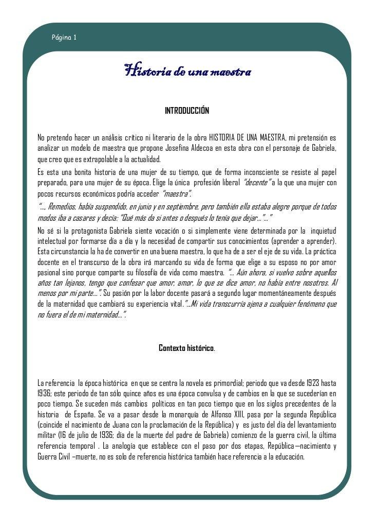 Página 1                               Historia de una maestra                                              INTRODUCCIÓNNo...