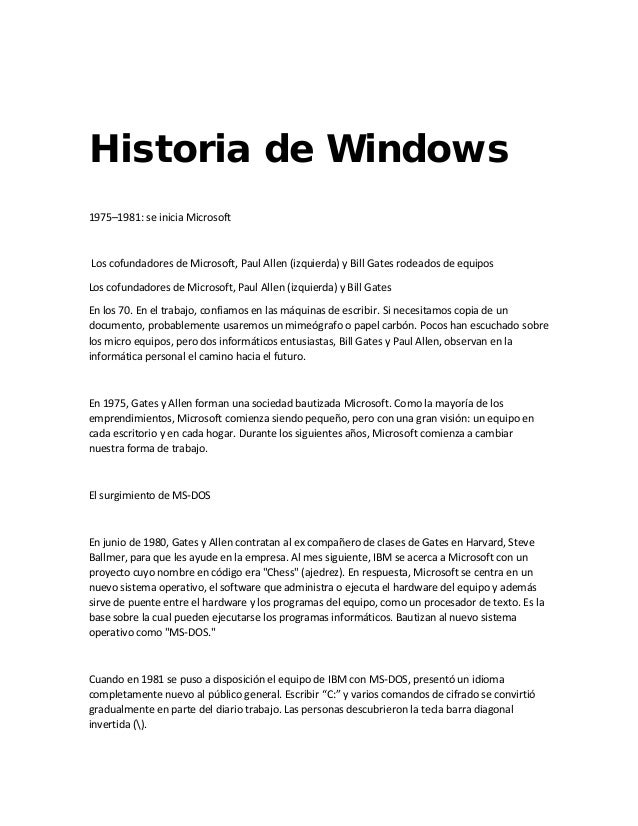 Historia de windows.