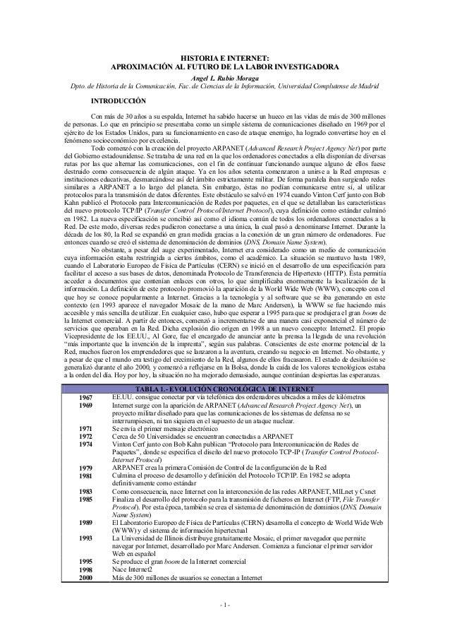 HISTORIA E INTERNET: APROXIMACIÓN AL FUTURO DE LA LABOR INVESTIGADORA Angel L. Rubio Moraga Dpto. de Historia de la Comuni...