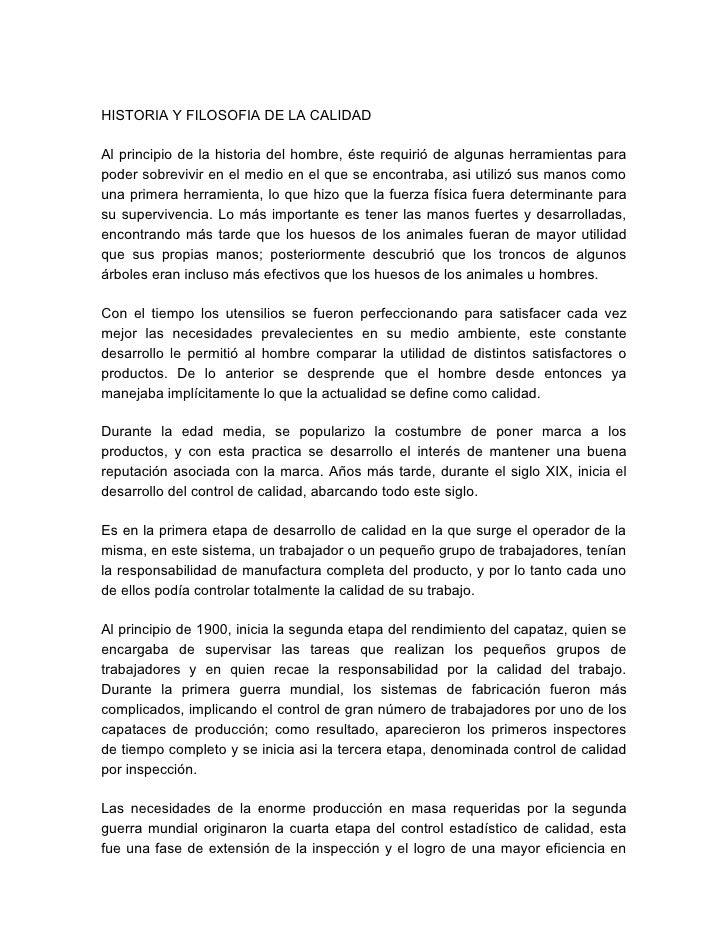 Historia & Filosofia De La Calidad