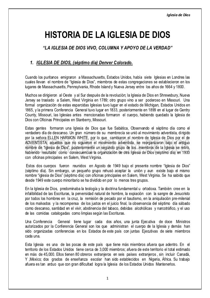 "Iglesia de Dios            HISTORIA DE LA IGLESIA DE DIOS           ""LA IGLESIA DE DIOS VIVO, COLUMNA Y APOYO DE LA VERDAD..."