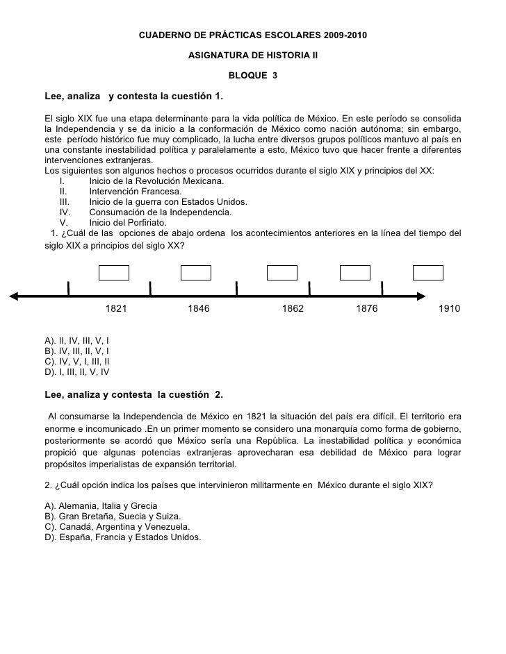CUADERNO DE PRÁCTICAS ESCOLARES 2009-2010                                     ASIGNATURA DE HISTORIA II                   ...