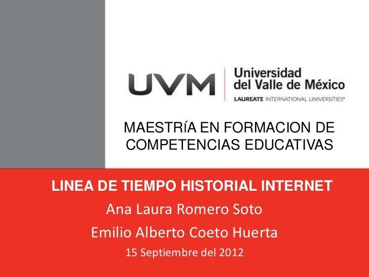 MAESTRÍA EN FORMACION DE        COMPETENCIAS EDUCATIVASLINEA DE TIEMPO HISTORIAL INTERNET      Ana Laura Romero Soto    Em...
