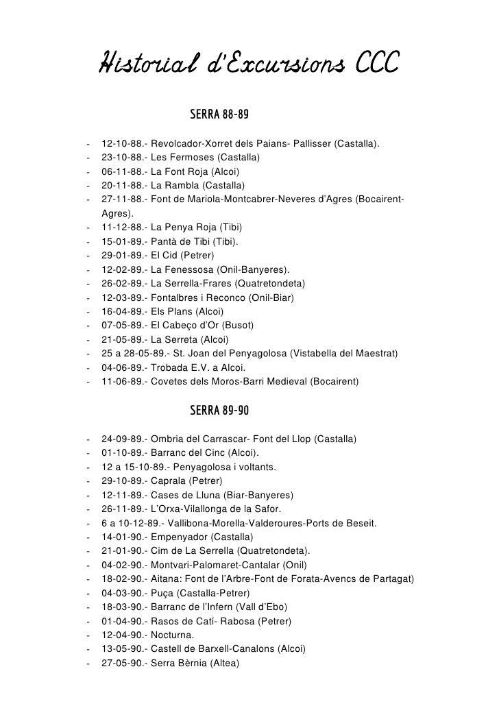 Historial dExcursions CCC                       SERRA 88-89-   12-10-88.- Revolcador-Xorret dels Paians- Pallisser (Castal...