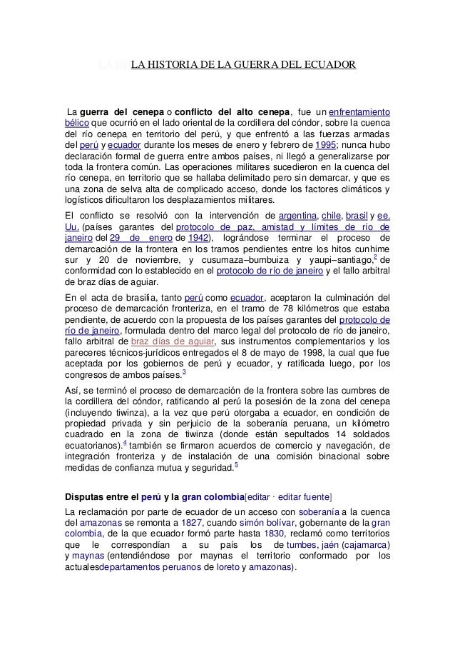 LA DDLA HISTORIA DE LA GUERRA DEL ECUADOR La guerra del cenepa o conflicto del alto cenepa, fue un enfrentamiento bélico q...