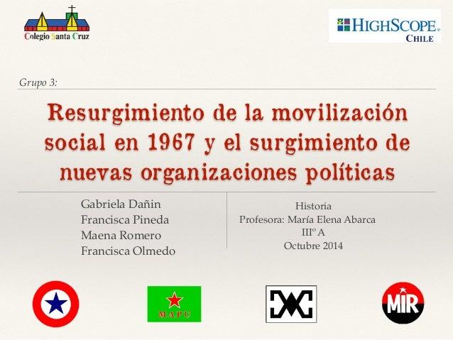 Grupo 3:  Resurgimiento de la movilización  social en 1967 y el surgimiento de  nuevas organizaciones políticas  Gabriela ...