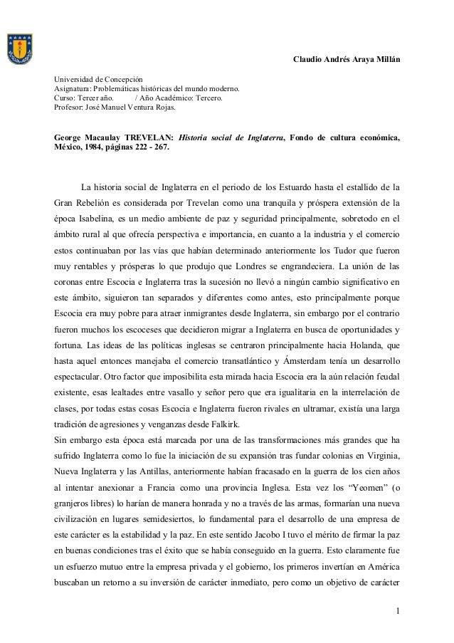 Claudio Andrés Araya Millán Universidad de Concepción Asignatura: Problemáticas históricas del mundo moderno. Curso: Terce...