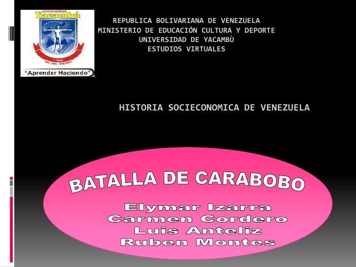 REPUBLICA BOLIVARIANA DE VENEZUELAMINISTERIO DE EDUCACIÓN CULTURA Y DEPORTE         UNIVERSIDAD DE YACAMBÙ            ESTU...