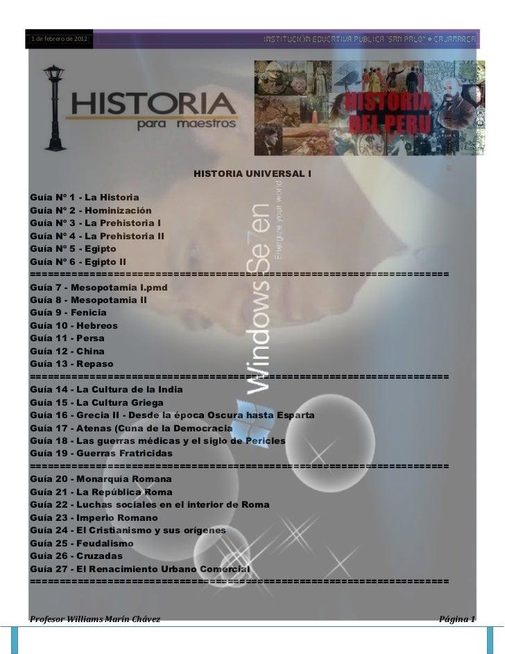 1 de febrero de 2012                              Ó                                 HISTORIA UNIVERSAL IGuía Nº 1 - La His...