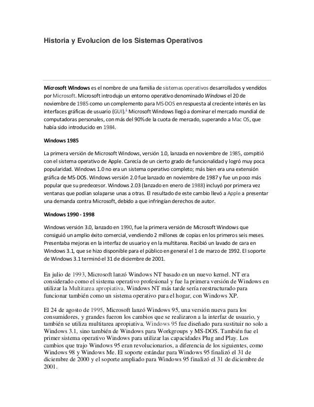 Historia y evolucion de los sistemas operativos cobaed20