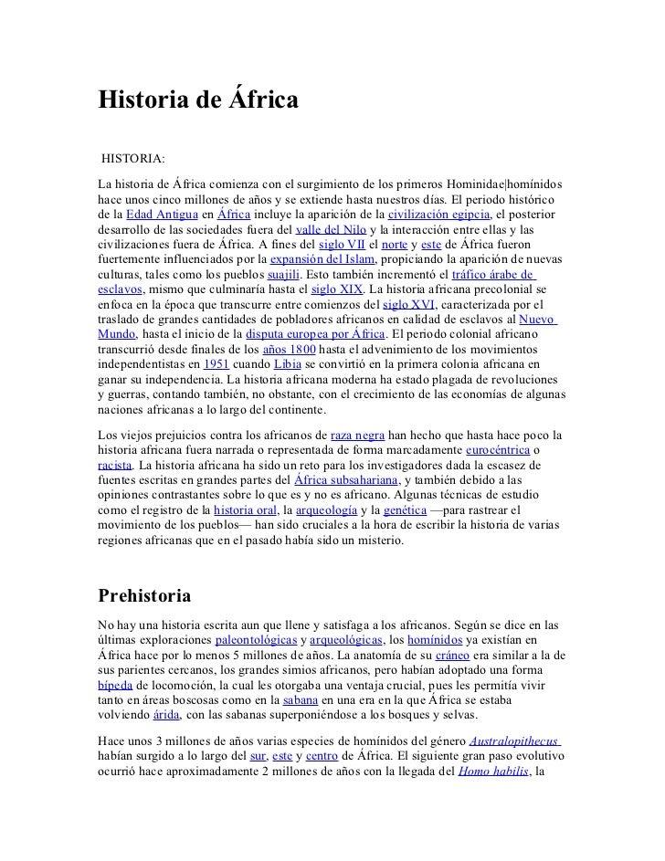 Historia de ÁfricaHISTORIA:La historia de África comienza con el surgimiento de los primeros Hominidae|homínidoshace unos ...