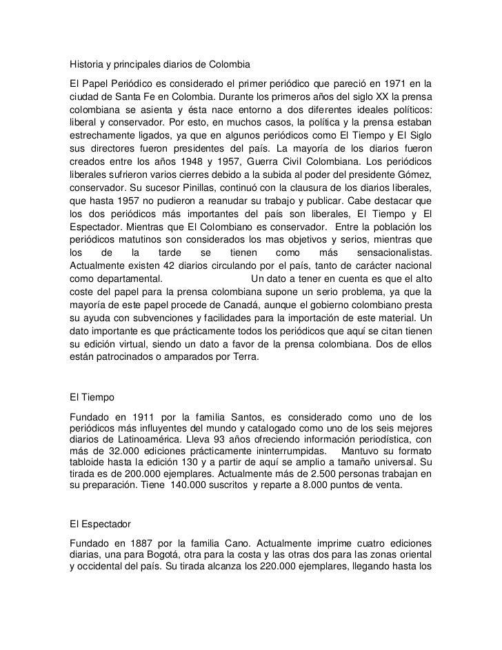 Historia y principales diarios de colombia