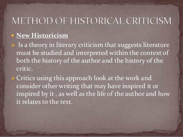 applying the theories of new historicism The origins of new historicism in early modern literary studies are literary investigations in historical method and theory new york: oxford university.