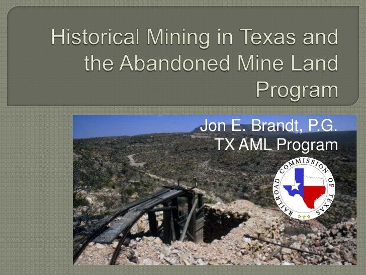 Jon E. Brandt, P.G.  TX AML Program