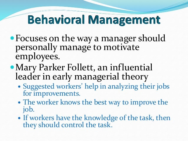 contribution to management of mary parker follett Select five of either mary parker follett's key contributions to management or henri foyal's principles of management, provide examples from the case, then choose one that is most likely to help address the current issues at saturnz software.