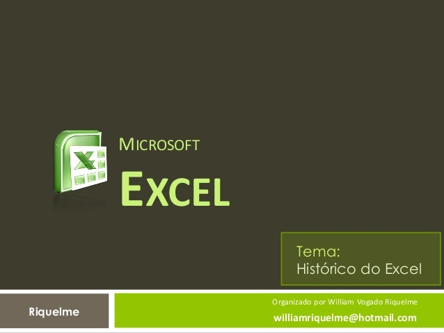 MICROSOFT EXCEL Organizado por William Vogado Riquelme williamriquelme@hotmail.com Tema: Histórico do Excel Riquelme
