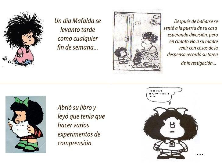 Un día Mafalda se levanto tarde como cualquier fin de semana... Después de bañarse se sentó a la puerta de su casa  espera...