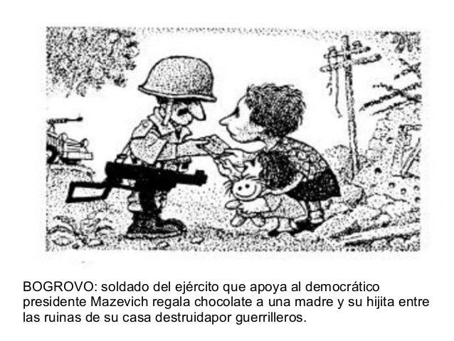 BOGROVO: soldado del ejército que apoya al democráticopresidente Mazevich regala chocolate a una madre y su hijita entrela...
