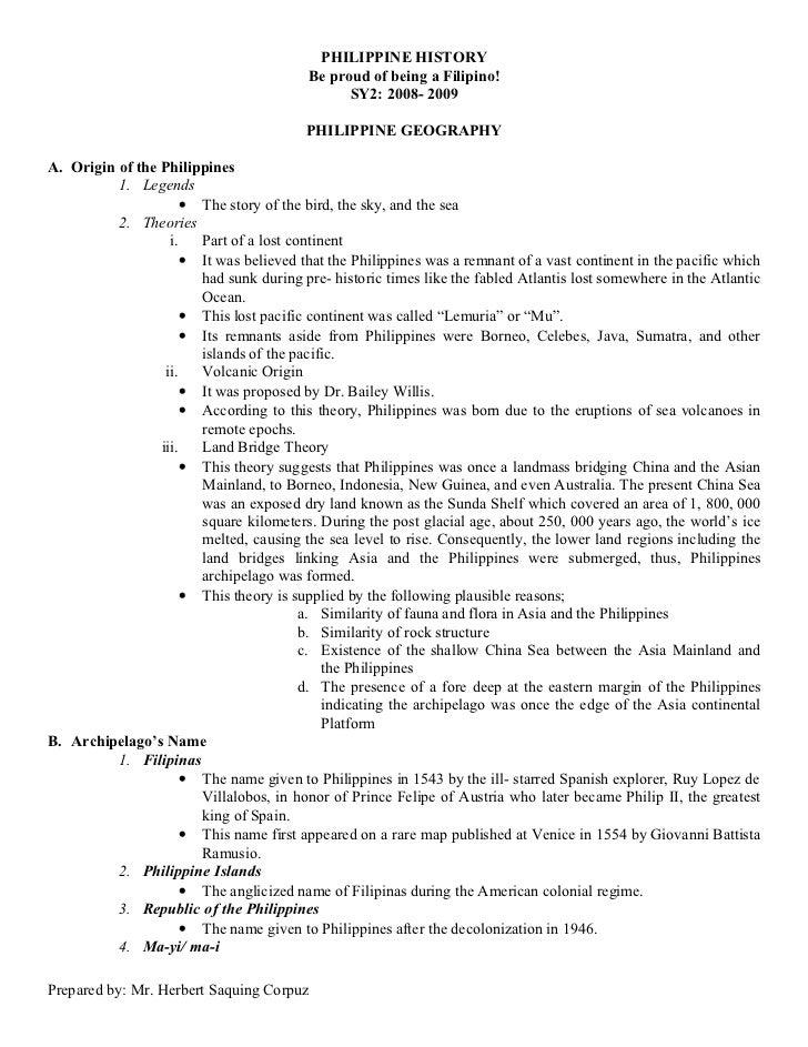 History Handouts by Mr. Herbert Saquing Corpuz