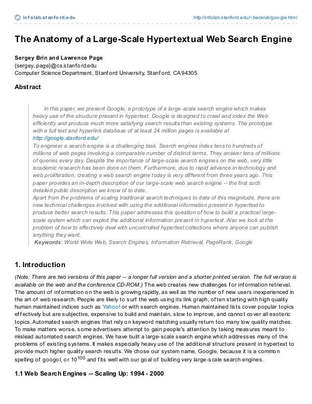 inf olab.st anf ord.edu http://infolab.stanford.edu/~backrub/google.html The Anatomy of a Large-Scale Hypertextual Web Sea...