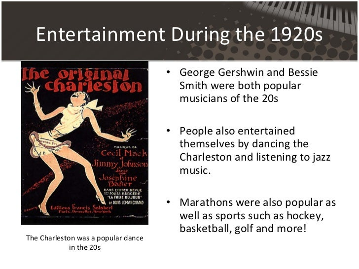 the entertainments in the 1920s Many of the defining features of modern american culture emerged during the 1920s the record chart, the book club, the radio, the talking picture, and spectator sports all became popular forms of mass entertainment.