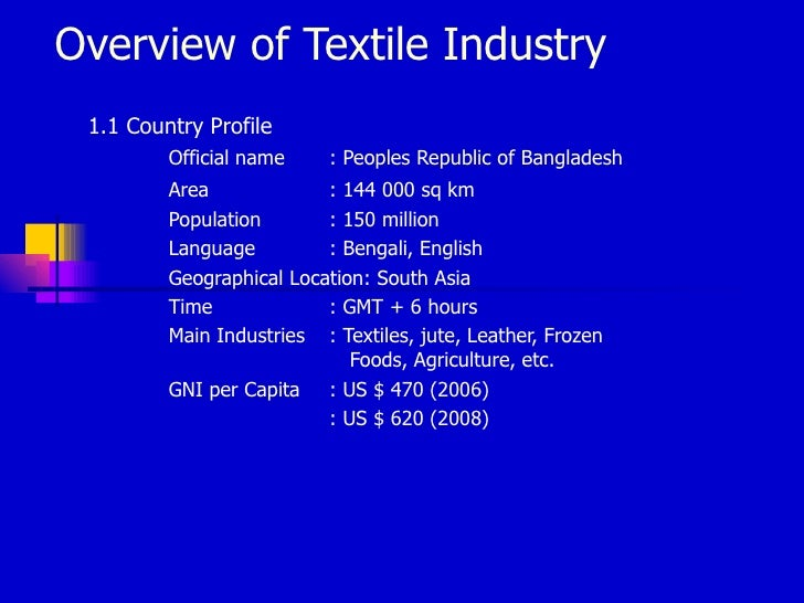 Overview of Textile Industry 1.1 Country Profile         Official name     : Peoples Republic of Bangladesh         Area  ...