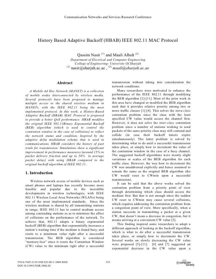 History based adaptive backoff (hbab) ieee 802.11 mac protocol
