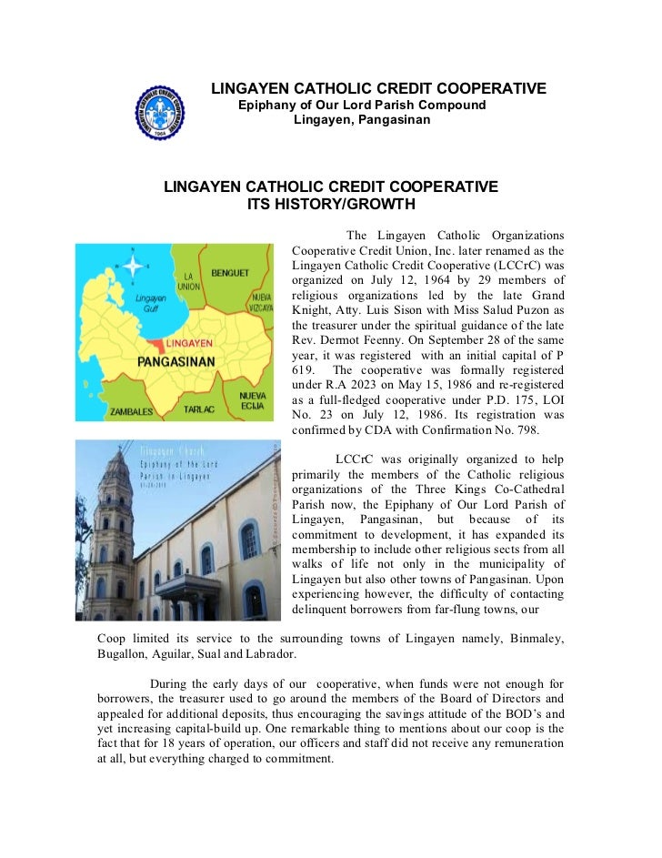 History of Lingayen Catholic Credit Cooperative