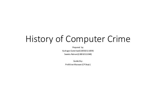 the definition and history of computer crimes Or threat the definition and history of computer crimes of 1) violence 3) harm to reputation.