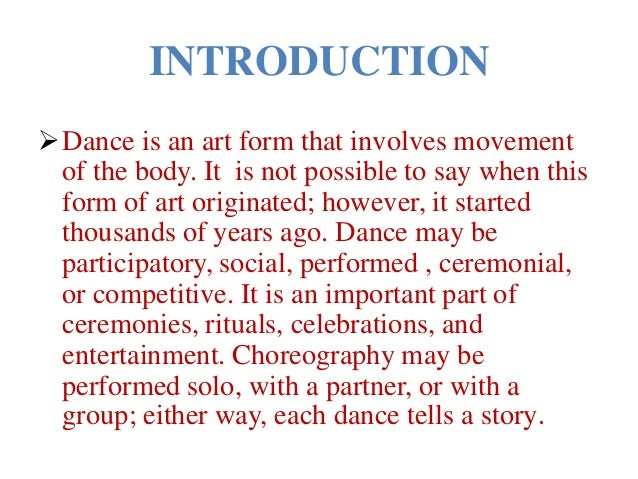 an introduction to dance education Courses and night school in art, craft, languages, business, fitness and more available at all times of the day or week.