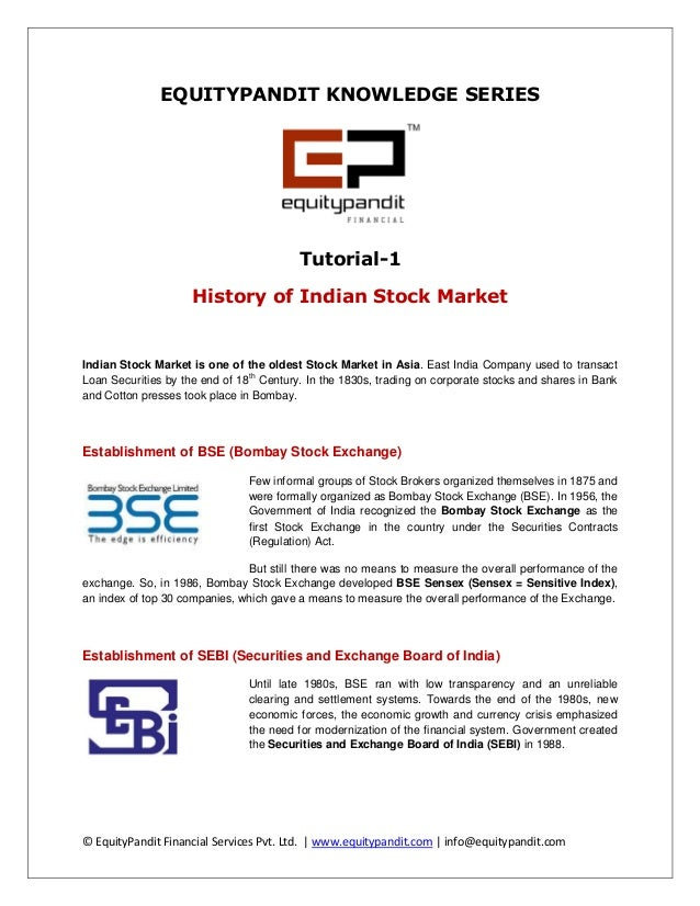 EquityPandit Knowledge Series: History of Indian Stock Market