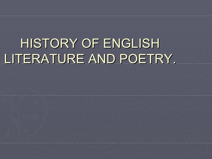 History of language literature & poetry