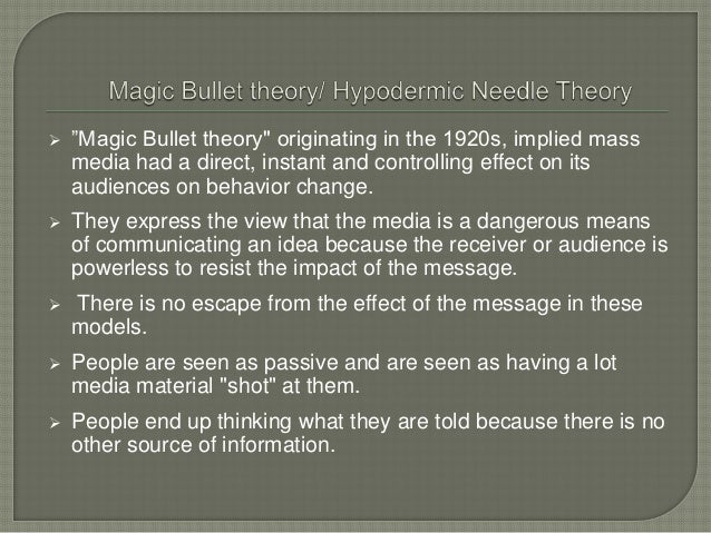 proponents of hypodermic needle theory Ask corner hypodermic needle or limited effect, a bearing on igp's take.