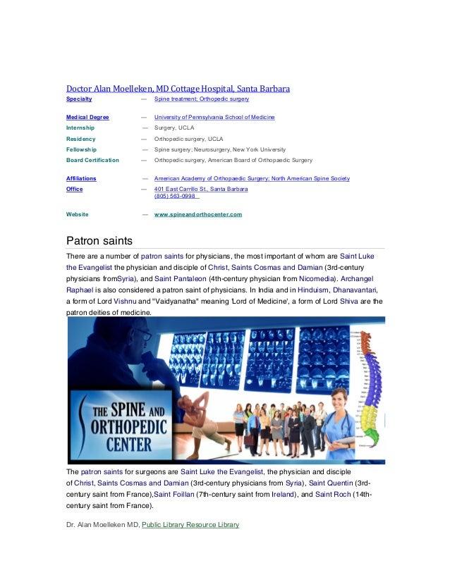 History of patron saints medicine alan moelleken md lawsuit terms cottage hospital santa barbara md