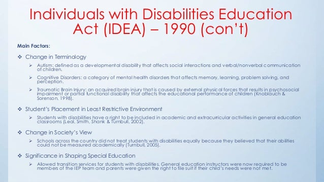 an analysis of the individuals with disabilities education act in the united states The purpose of this doctoral project was to conduct a policy analysis of two federal laws affecting public education today-- the no child left behind act of 2001 and the individuals with disabilities education act of 2004.