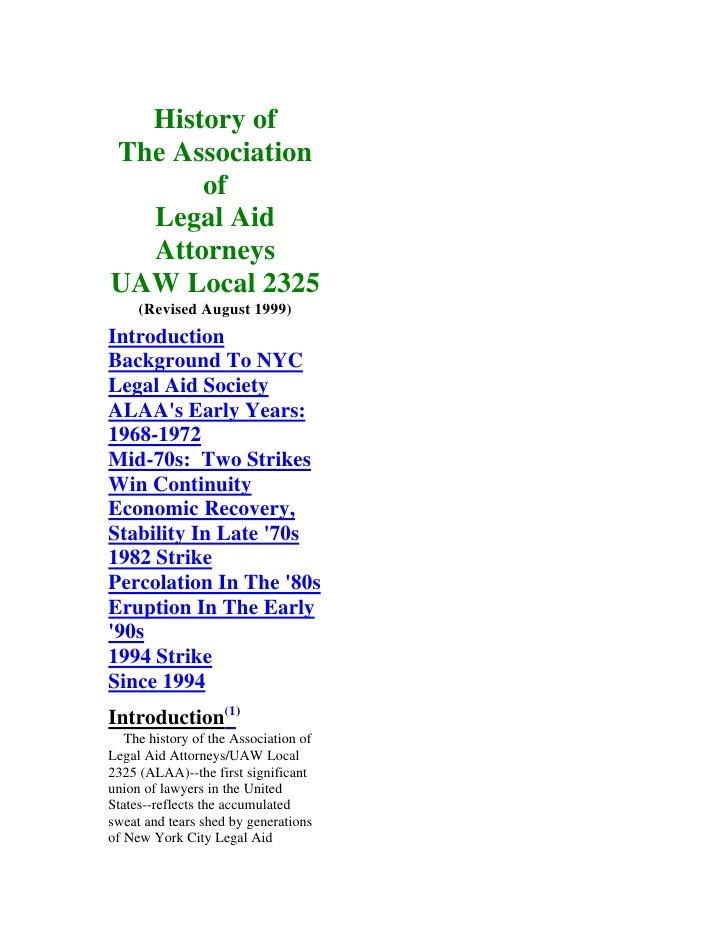 History Of The Association Of Legal Aid Attorneys Uaw Local 2325