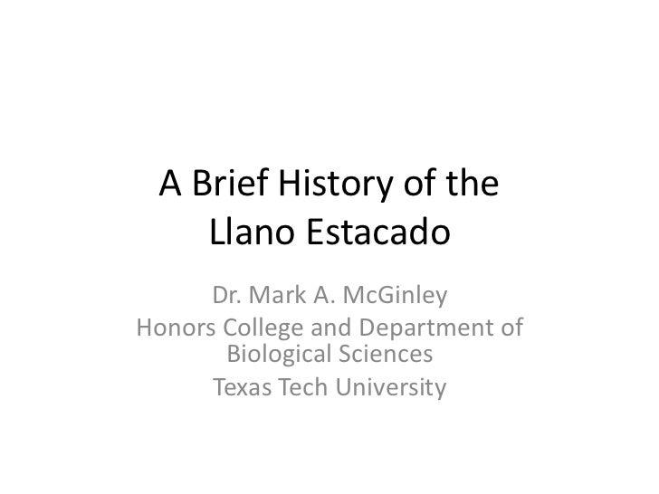 History of the llano estacado