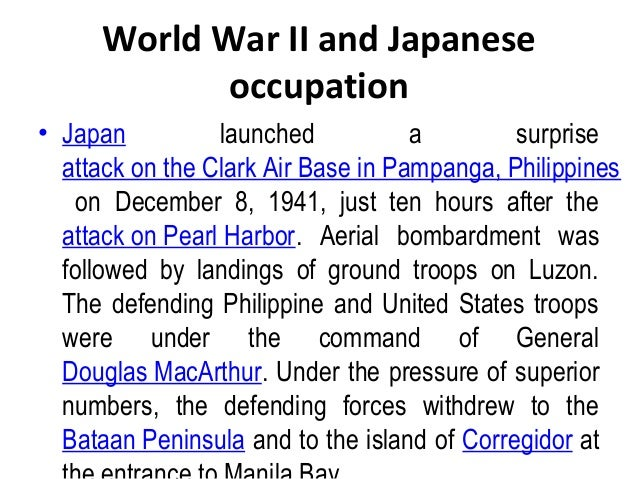 philippine history during the japanese occupation During the japanese occupation, filipino literature was given a break, as writing in english was consigned to limbo philippine literature in english came to a halt.