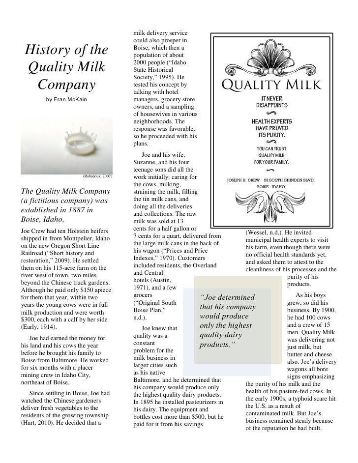 History of the quality milk company