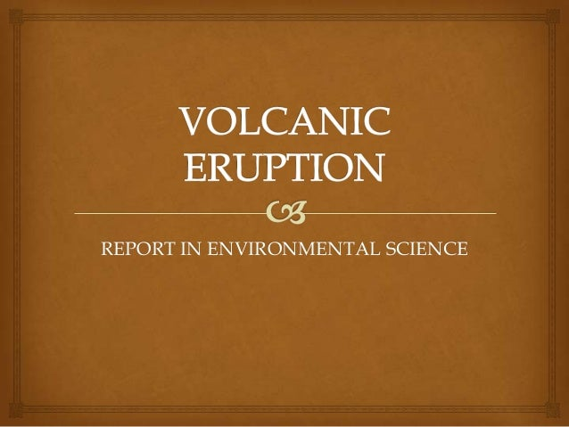 REPORT IN ENVIRONMENTAL SCIENCE