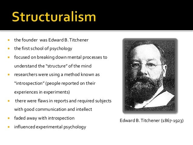 edward b titchener the father of structuralism Start studying psychology chapter 1 learn wundt is considered the father of psychology because he started the first research lab in 1879 edward b titchener.