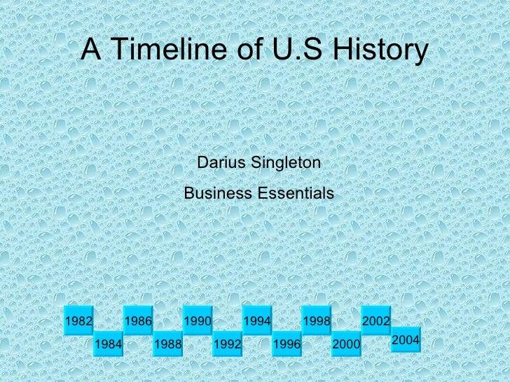 A Timeline of U.S History 1982 2004 1986 1988 1990 1992 1994 1984 2000 1996 1998 2002 Darius Singleton Business Essentials