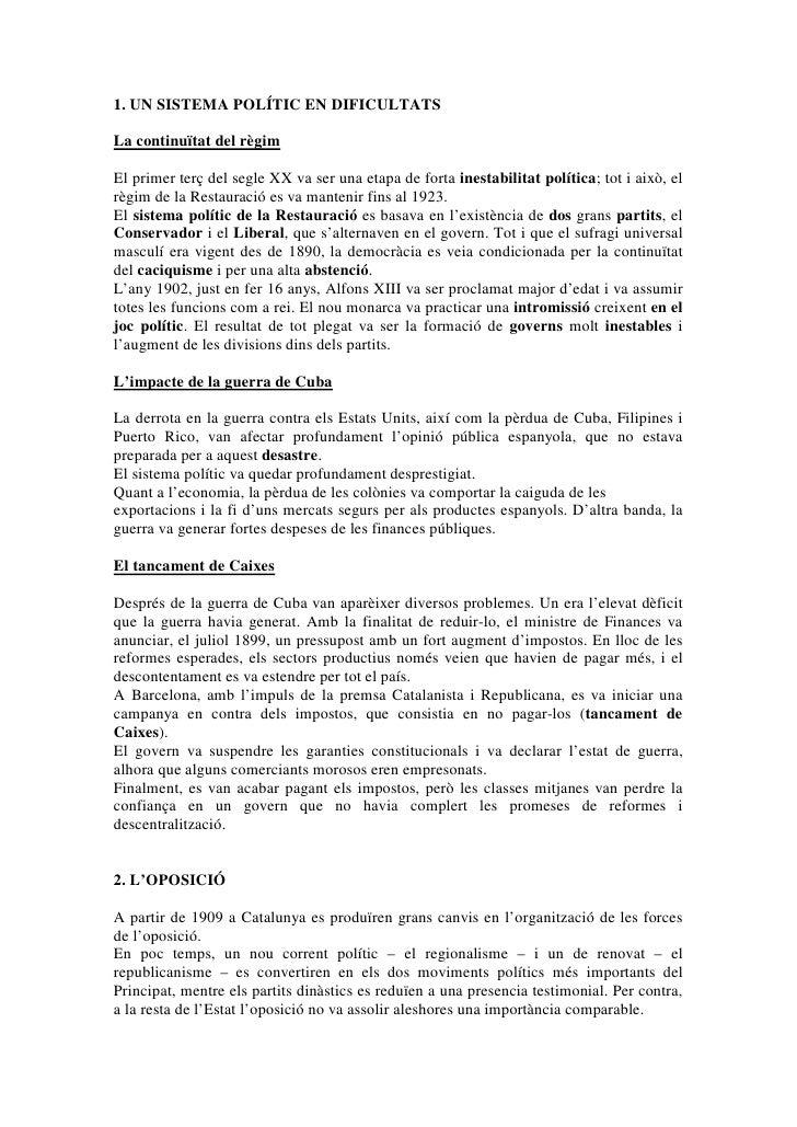 HistòRia   La Crisi De La Restauració (1899 1931) (Tema 11)   By Macky