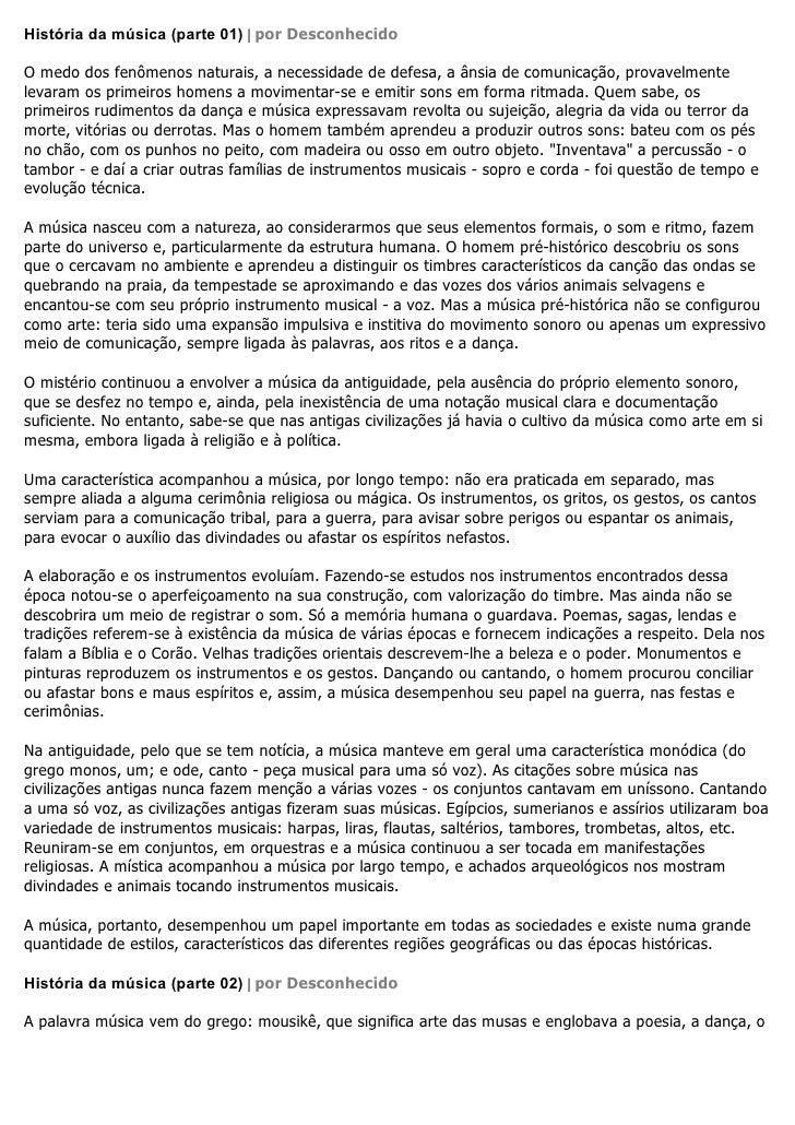 HistóRia Da MúSica, 1,2,3,4